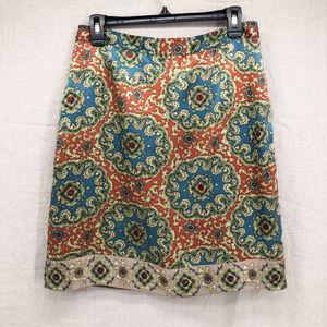PLENTY x Anthropologie Silk Bead Sari Pencil Skirt